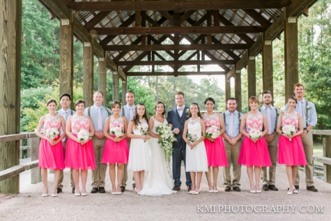river landing wedding with bridal party