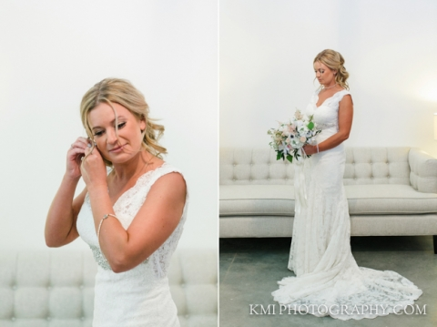 bride getting ready for her wedding at wrightsville manor