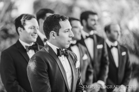 Groom sees the bride walk down the aisle at Wrightsville Manor