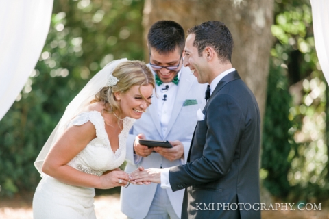 bride and groom exchange vows at Wrightsville Manor ceremony