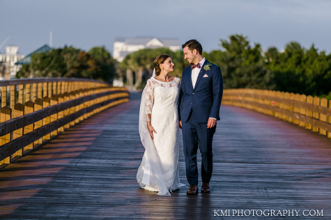 a bride and groom on Bald Head Island