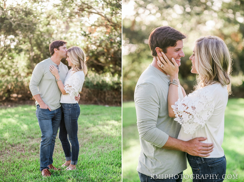 a couple poses for photos at their engagement session
