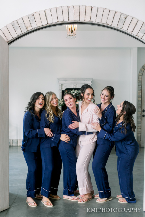bridesmaids in the bridal room at Wrightsville Manor
